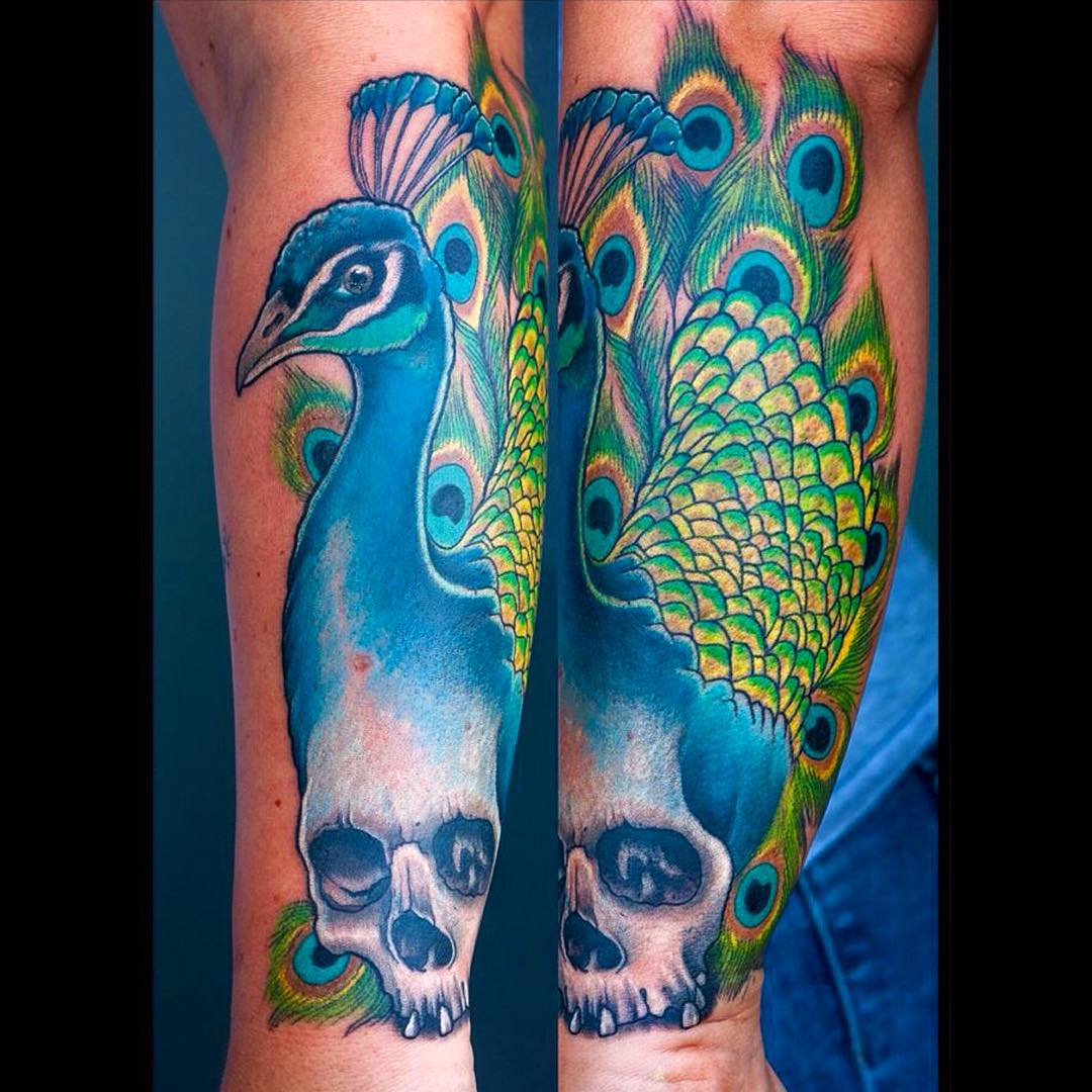 A skull growing out of a peacock? Well, why not...? #tattoo #tattoing #peacock#p...
