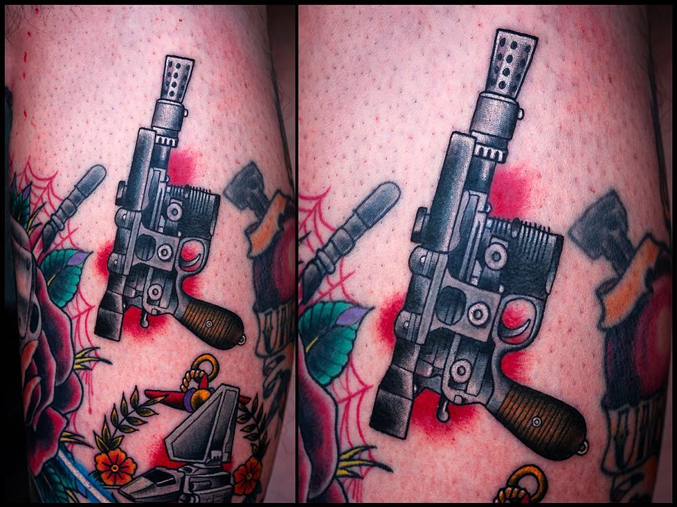 Addition to Micha's lower leg - Han f*#%in' Solo's DL-44 Blaster!  #tattoo #tatt...