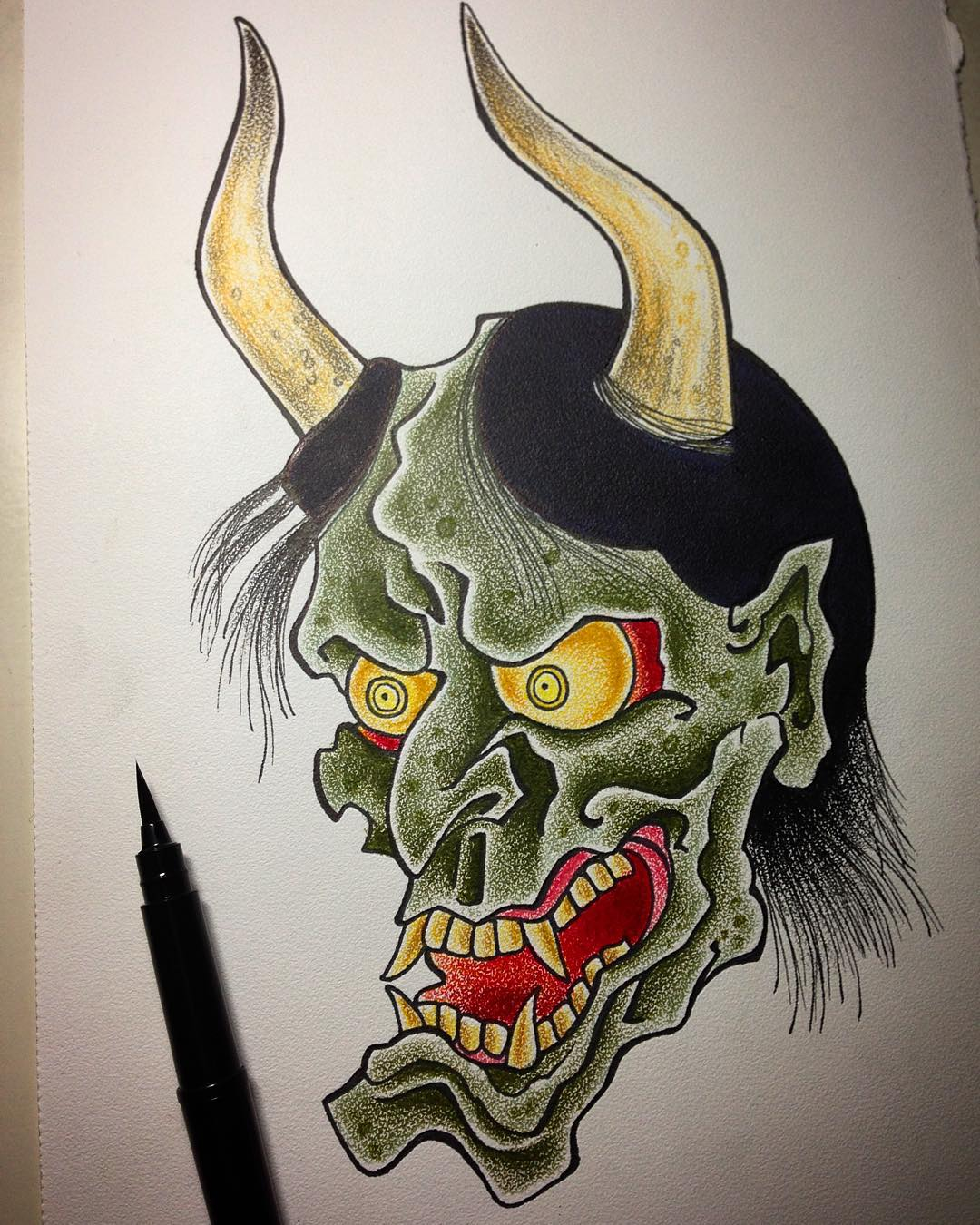 Another quick Hannya sketch on Coquille - go get it! #hannya#oni#polychromos #fa...