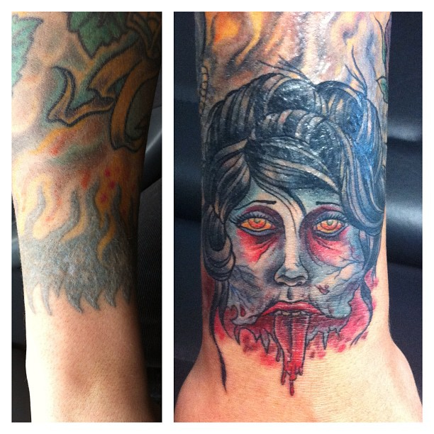 Cover-Up Time again...#tattoo #tattooing #tattooart #zombie#zombiegirl#girlshead...