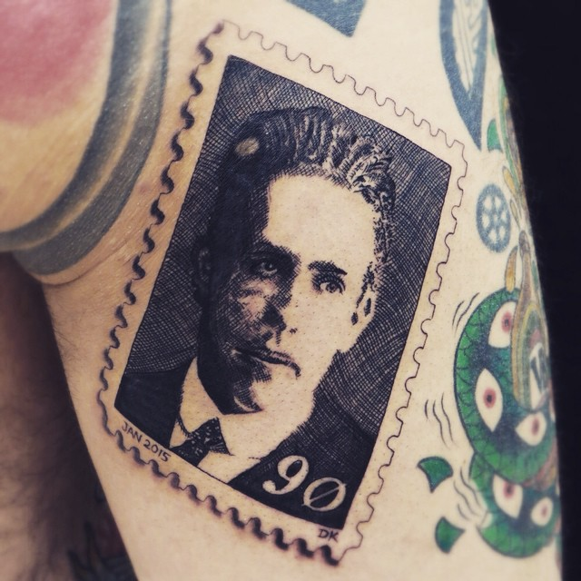 Did this stamp tattoo the other day on my friend @theotattoo of the one and only...