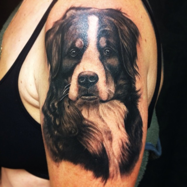 Dog of the Day #tattoo#tattooing#tattooart#portrait#portraittattoo#dog#dogtattoo...
