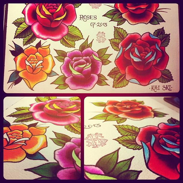 Exercising Roses...#tattoo#tattooing#flash#rattooflash#flashsheet#roses#traditio...