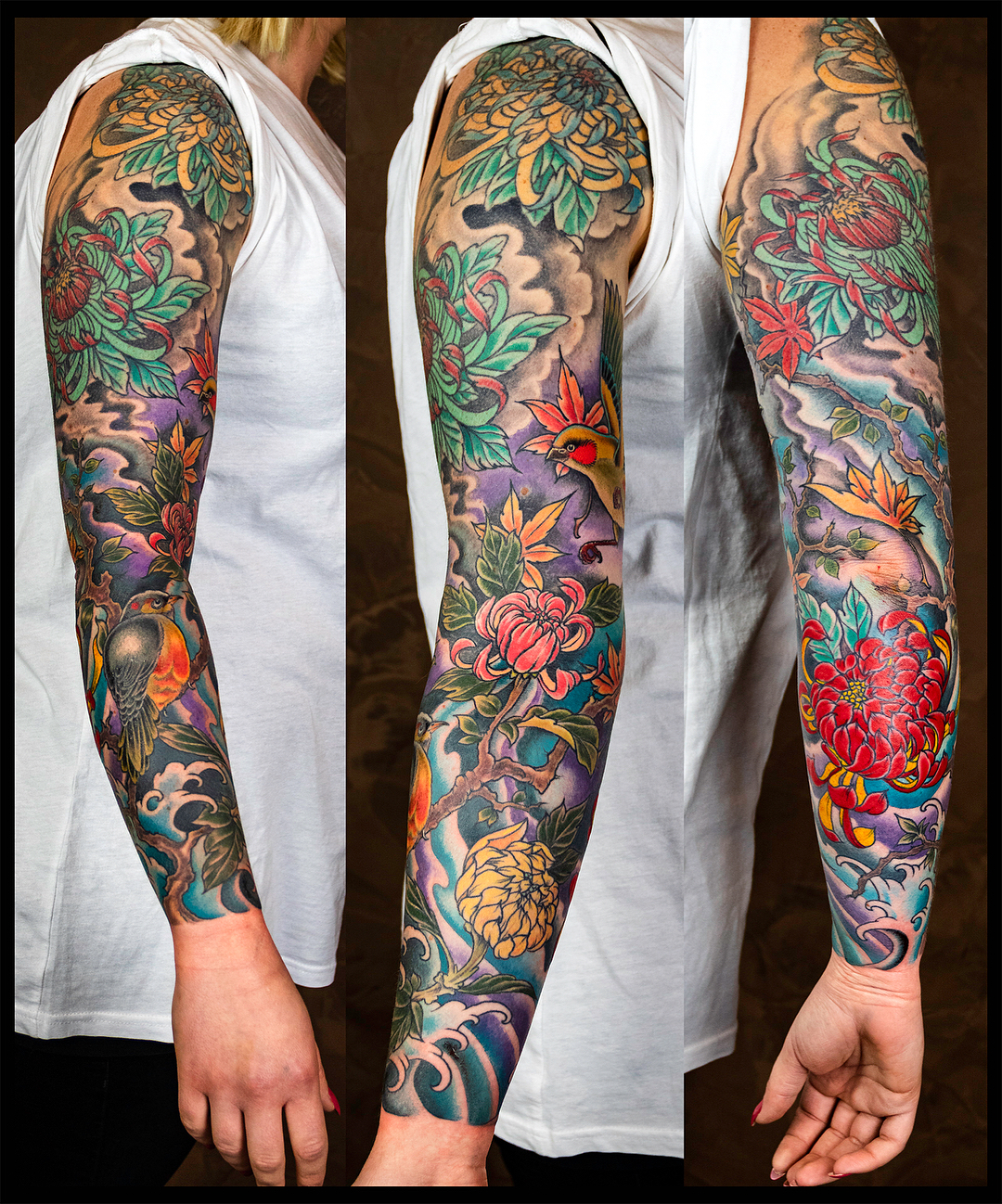 Finished Sarah's full sleeve project, most of it fully healed in this picture. U...