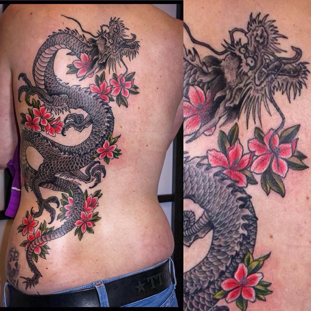 Finished this Dragon with customer's favourite flowers yesterday, some backgroun...