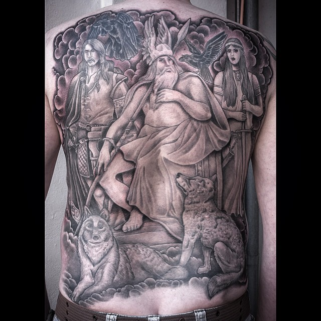 Finished this Viking backpiece a couple of days ago @royaltattoodk on Anders fro...