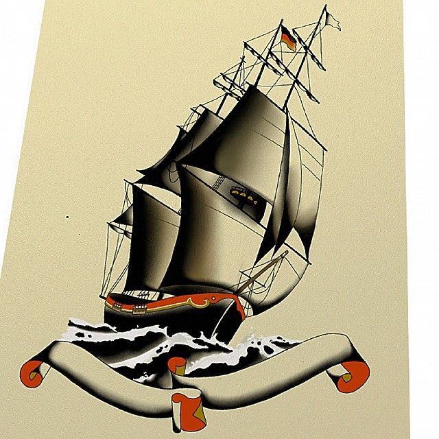 Flash of a german Sailing ship,  It was drawing and coloring with wacom,  #stuck