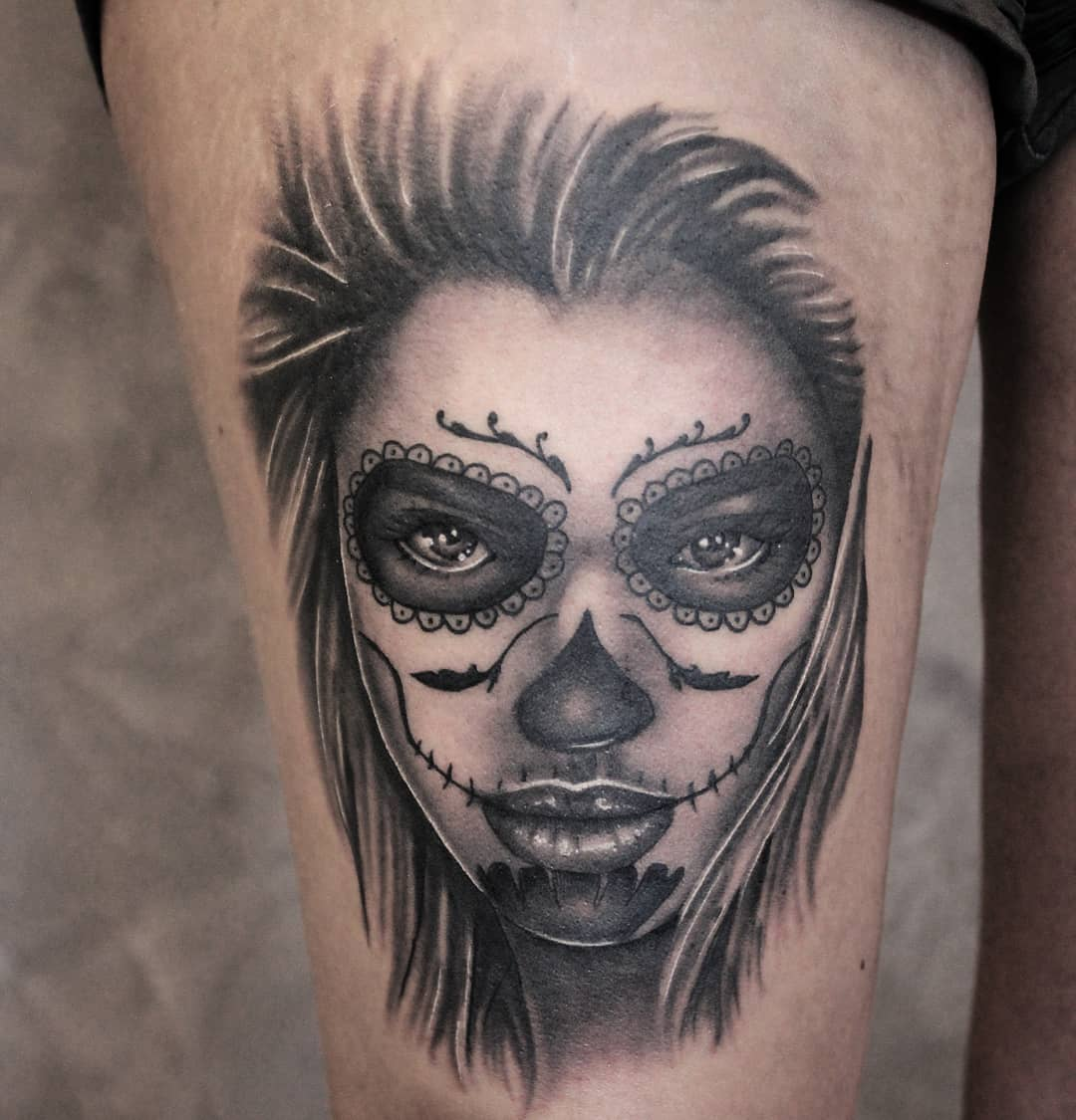 Fresh la Catrina, thx again! #germantattooers #tattooworkers #tattoo #tattoolife
