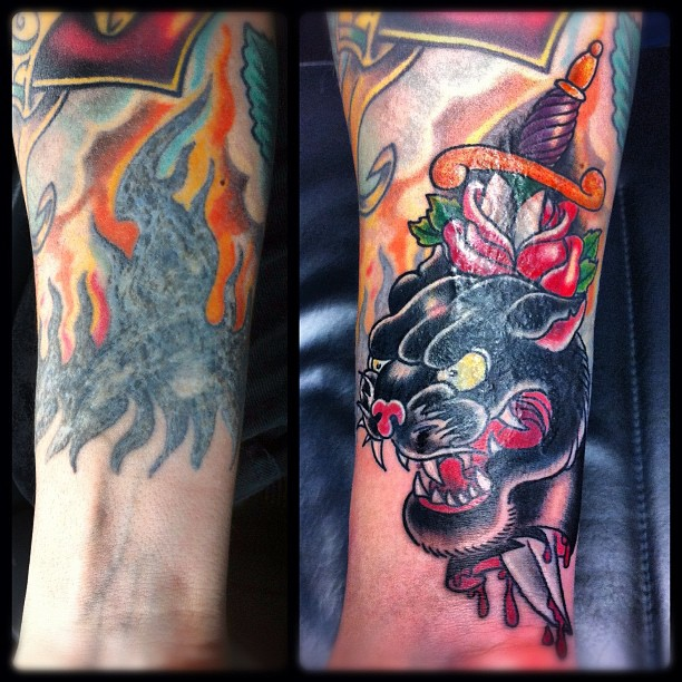 Friday Night Cover-Up Session #tattoo #tattooing #coverup#cover-up#coveruptattoo...