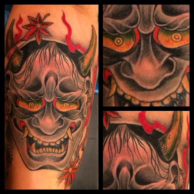 Fun with this Hannya on the inner biceps - impossible to get a decent picture af...