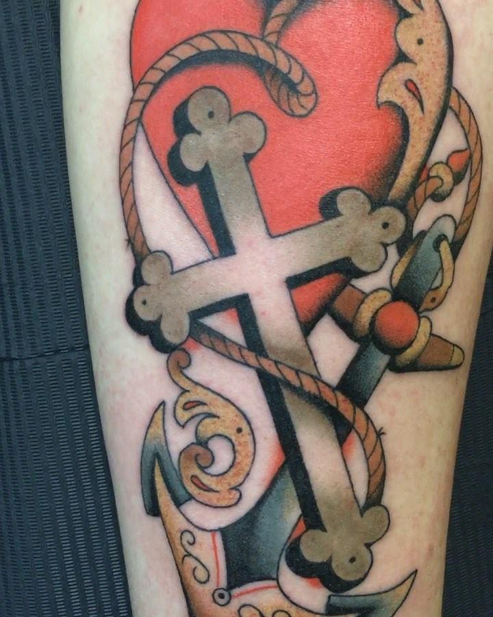 """Glaube, Liebe, Hoffnung"" his first tattoo, thank you Nicolas, #matthiasblossfel"