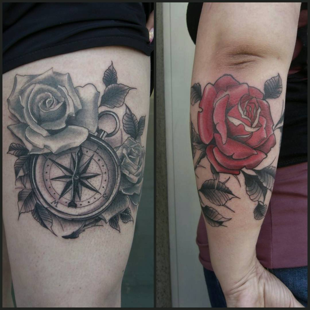 I always love to do roses #germantattooers #tattooworkers #tattoo #traditionalta