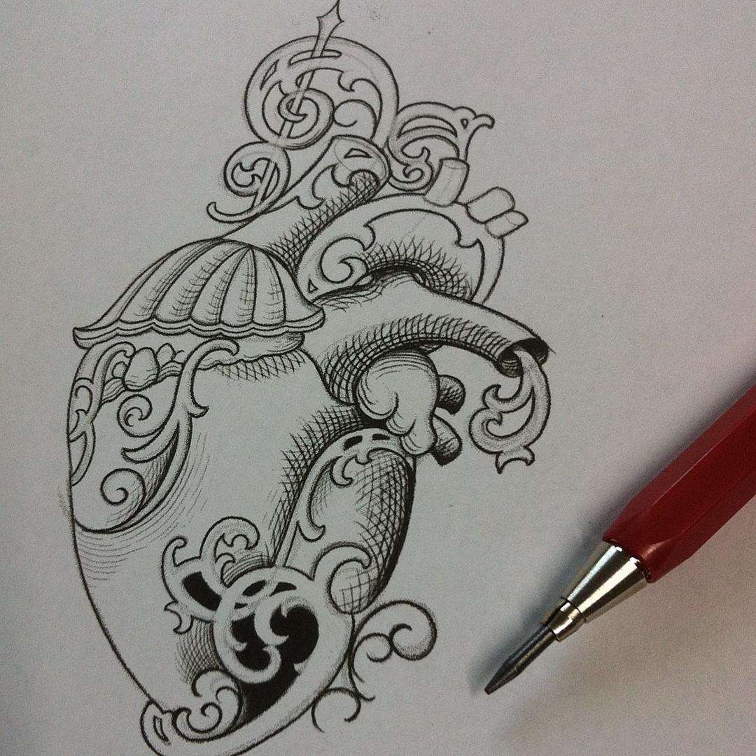 Ideenskizze  #stuckinthepasttattoo #pencilsketch #scrolls #ligaturecollective #h