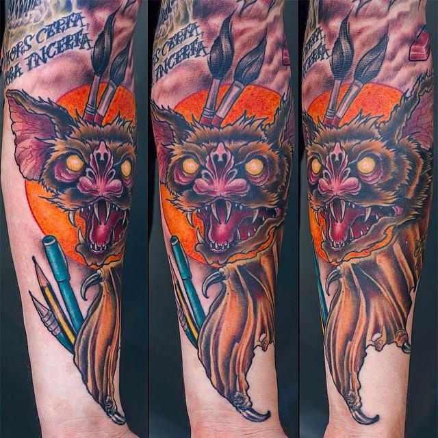 Inner part of a lower arm piece  #tattoo #tattoing #bat#vampire#vampirebat#batta...