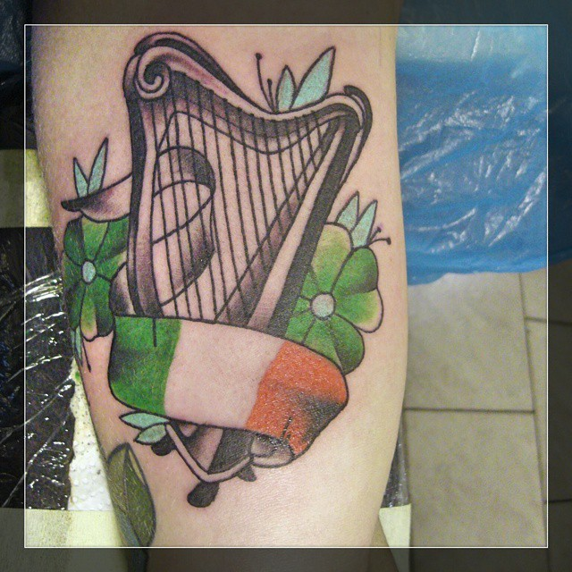 Irish harp from yesterday....thx for looking #boldwillhold #germantattoers #TATT