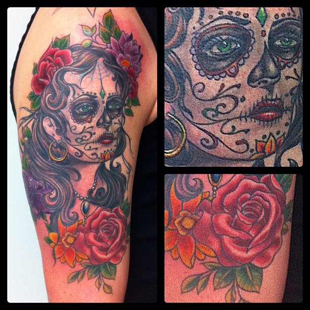 Just finished, most of it fully healed, some small spots fresh #tattoo#tattooing...