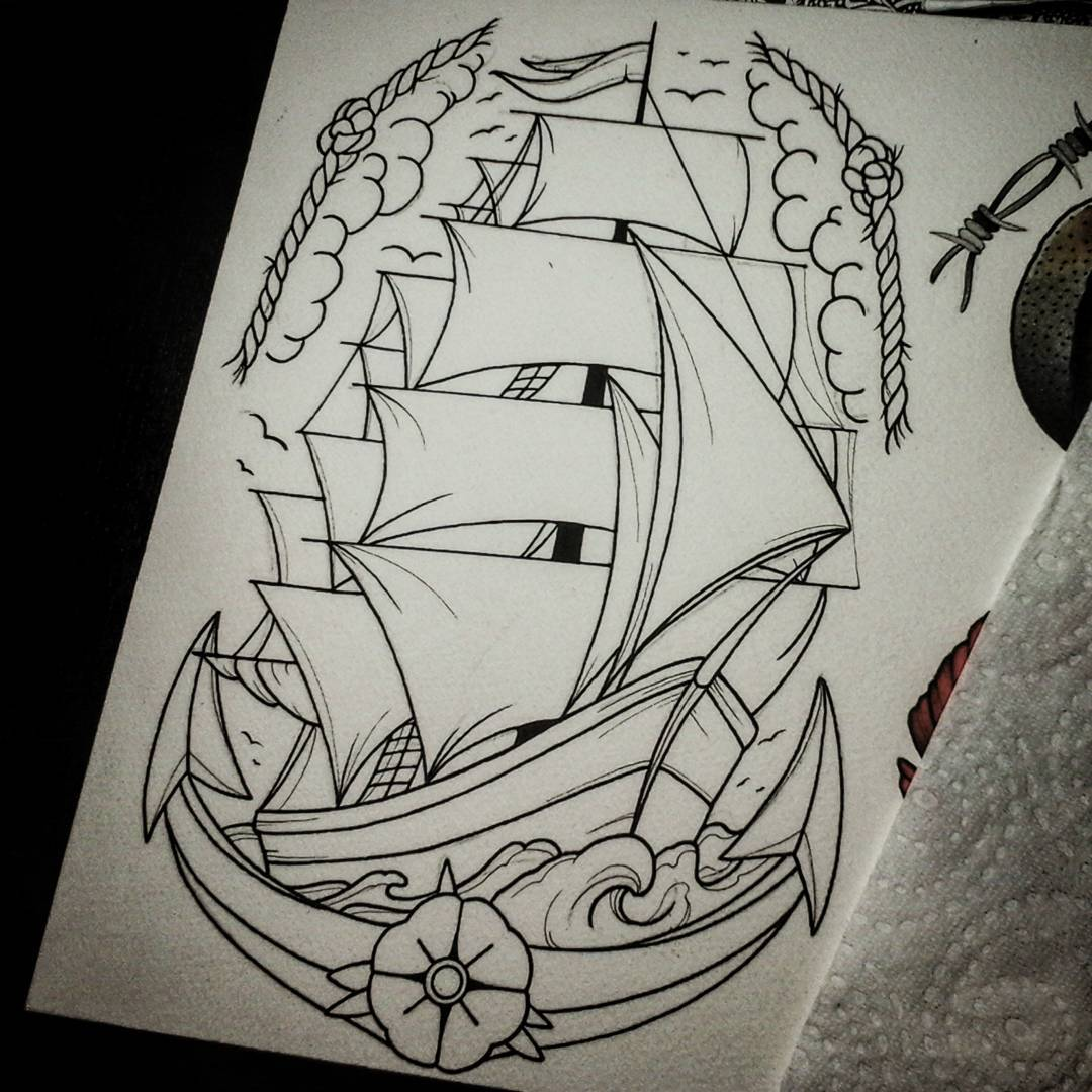 Latenight-line-drawing from yesterday, can't wait to color it #germantattooers #