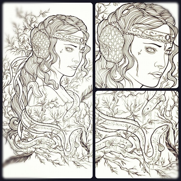 Linedrawing inspired by a Natalie Portman Star Wars picture...#linedrawing #girl...