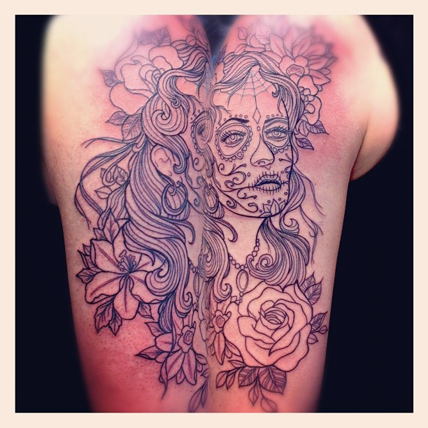 Linework done...#tattoo#linework#tattoolines#linedrawing#dayofthedead #diadelism...