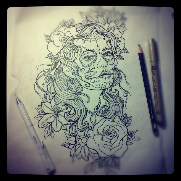 """Linework for tomorrow...Listening to """"Static Age"""" by The Misfits #tattoo#tattoos..."""