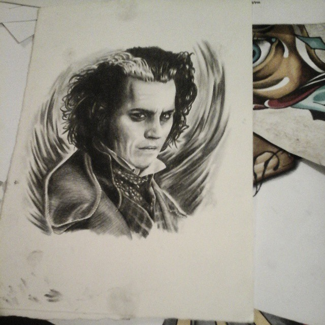 Old polychromodrawing of the great sweeny todd #drawing #sweenytodd #polychromo
