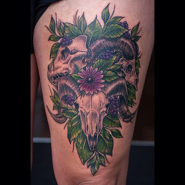 One shot, upper leg #tattoo #tattoing #skull#skulltattoo#ram#antlers#horns#wolfs...