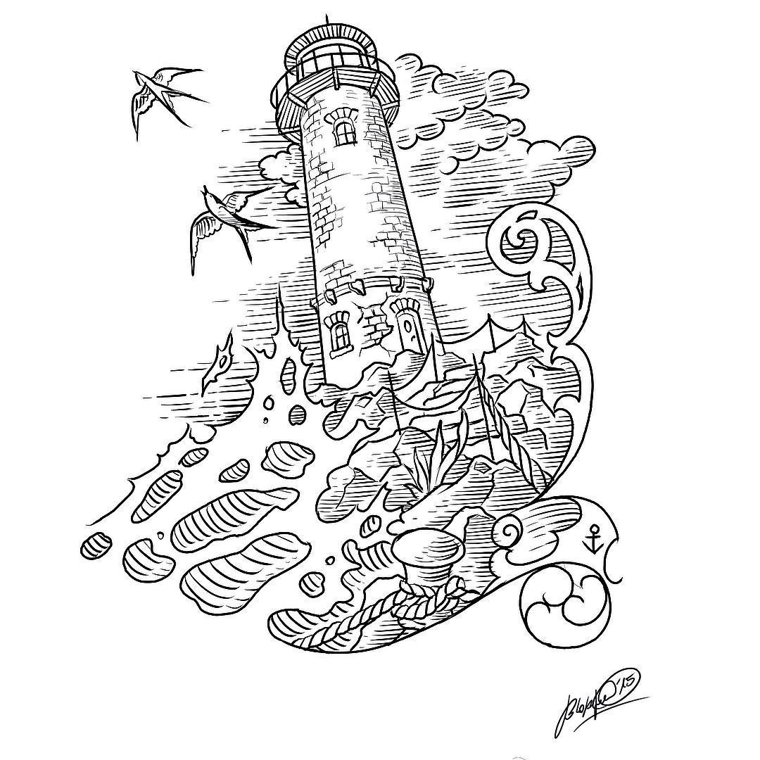 Perspektivfindung von einer leuchtturmodylle #stuckinthepasttattoo #lighthouse##
