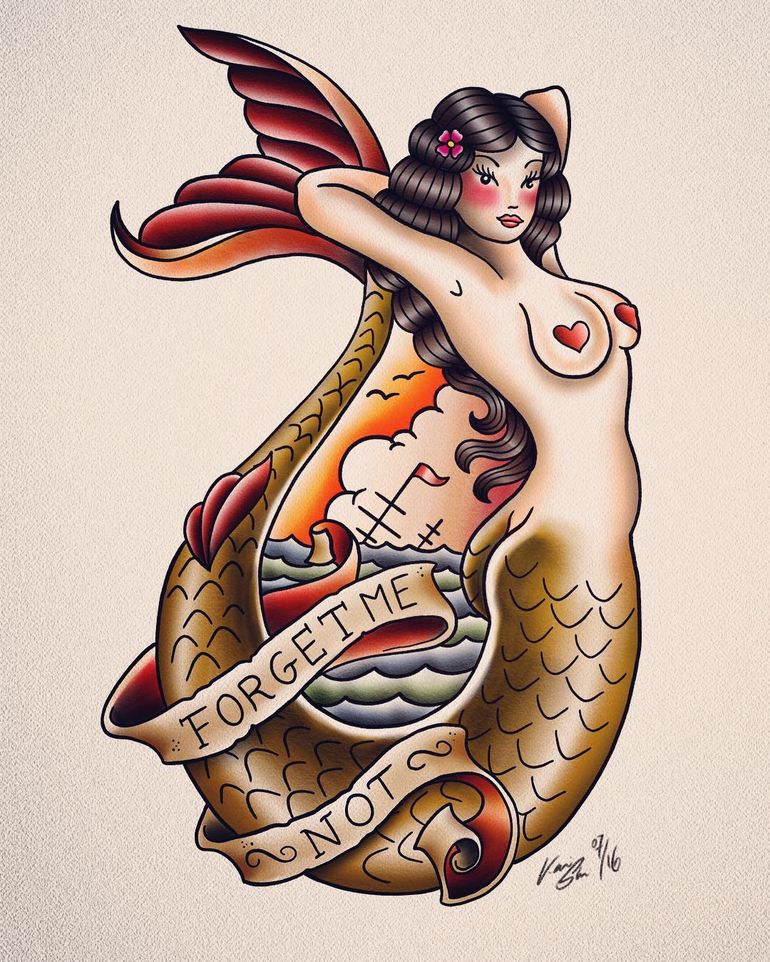 Redrawing of a classic Sailor Jerry Flash for practice - so much fun!!! #tattoo#...