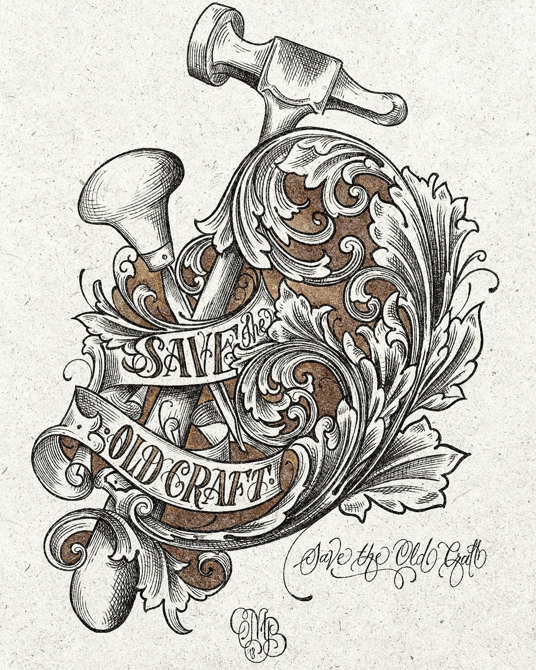 """Save the old craft"" design drawn for my canditature @grstools @master_engraver"