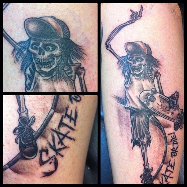 Skate or Die! #skate#skateboard #tattoo #skeleton#boneless#skull#skateboarding...