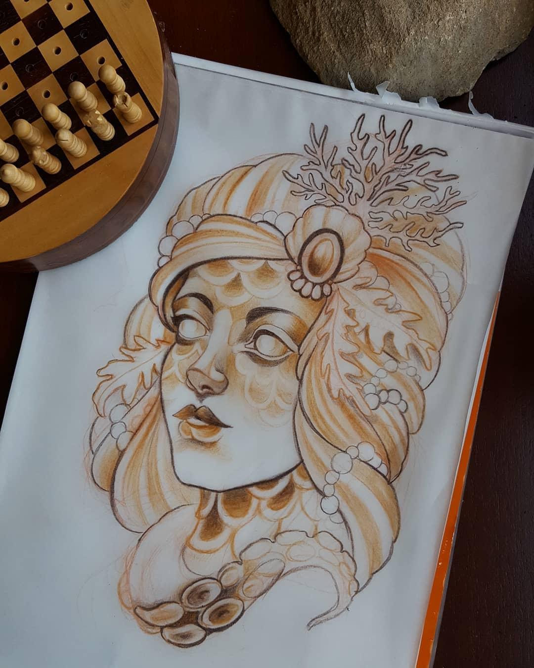 Sketch. Gerne auch als Tattoo verfügbar.  #mermaid #savetheoceans #wannado #zeit