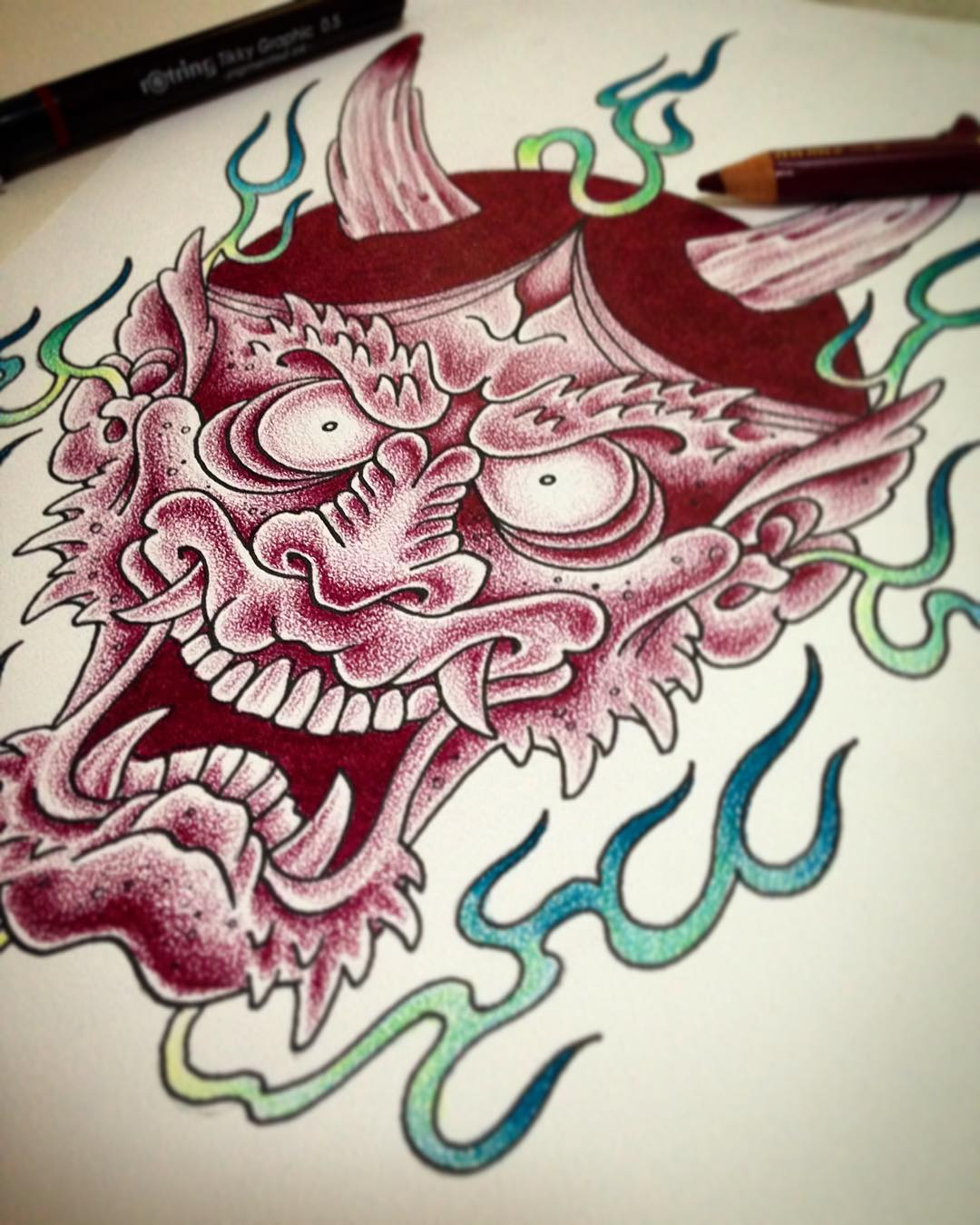 Sketch with Polychromos on Coquille - waiting for getting tattooed! #hannya#oni#...