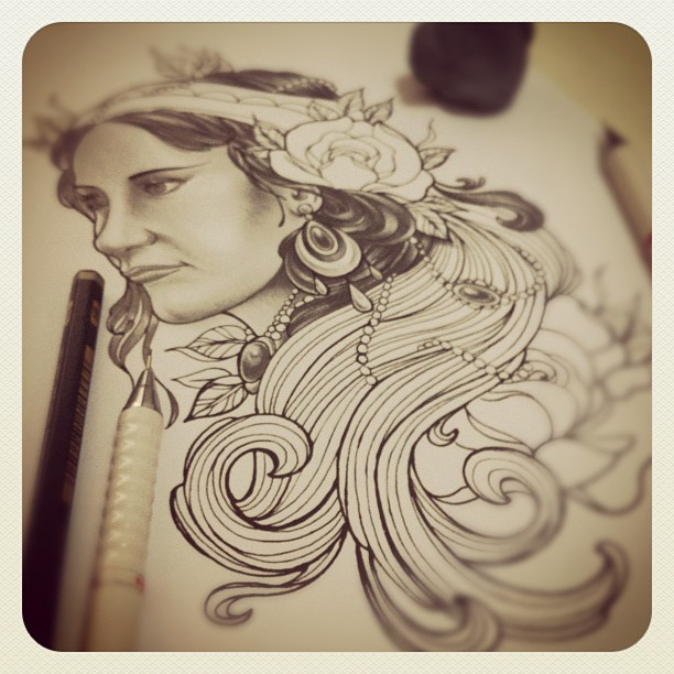 Sketchin' for tomorrow's appointment. #sketch#drawing#art#artwork#flash#tattoo#t...