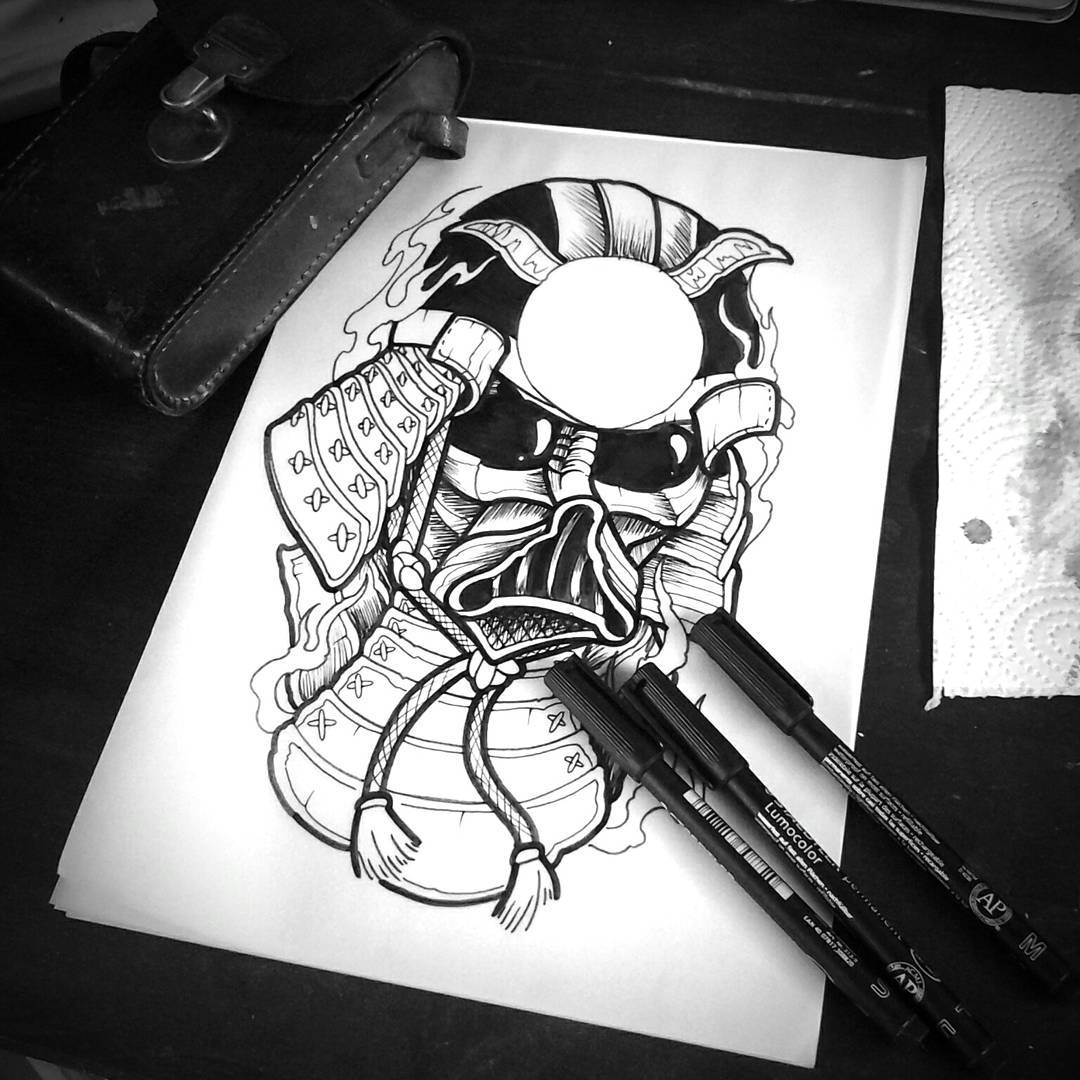 Sketching around on this vader-samurai-coverup for a cool dude @roenni187 #germa