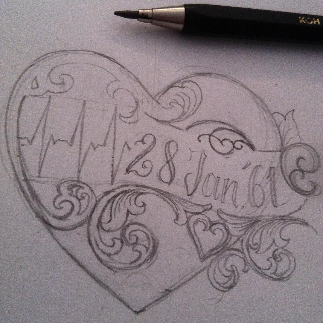 Skizze für heute.. #stuckinthepasttattoo #sketch #staytrue #scrolls #heart