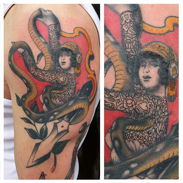 Snake lady, partly fresh, partly healed.. @andreasspeckmann #stuckinthepasttatto