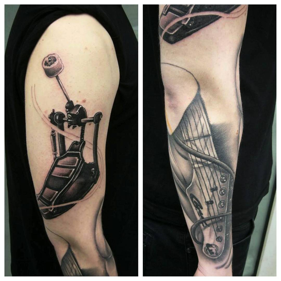 Some progress on Max's music-themed sleeve.....fore arm healed, upper arm fresh.