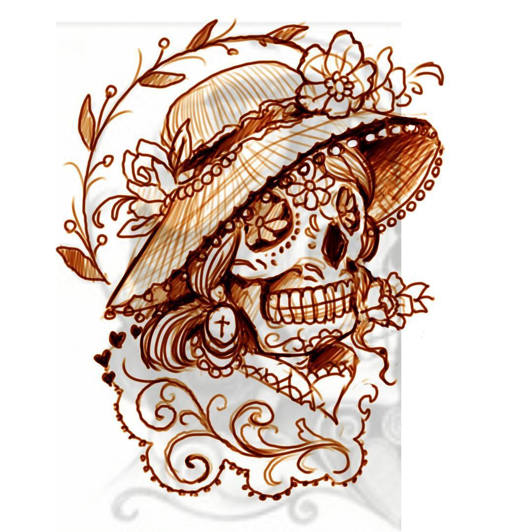 Sugar skull lady von dienstag, die eigentlich schon längst unter der haut sein m