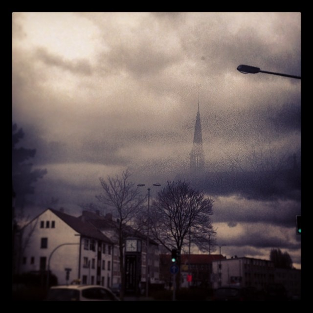 The Ghost Church in the sky over Bottrop this morning!  #sky#clouds#church#churc...