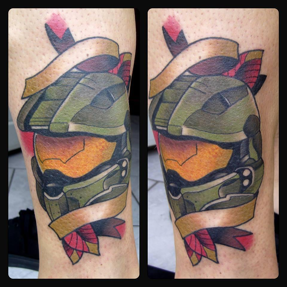 The Master Chief! Thx for letting me do this #germantattooers #neotraditionaltat