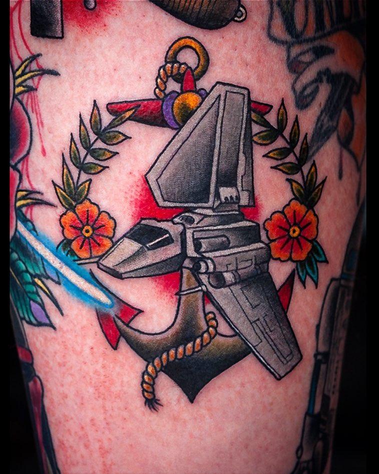 The infamous Shuttle Tydirium  #tattoo #tattooing #starwars #starwarstattoo #ner...