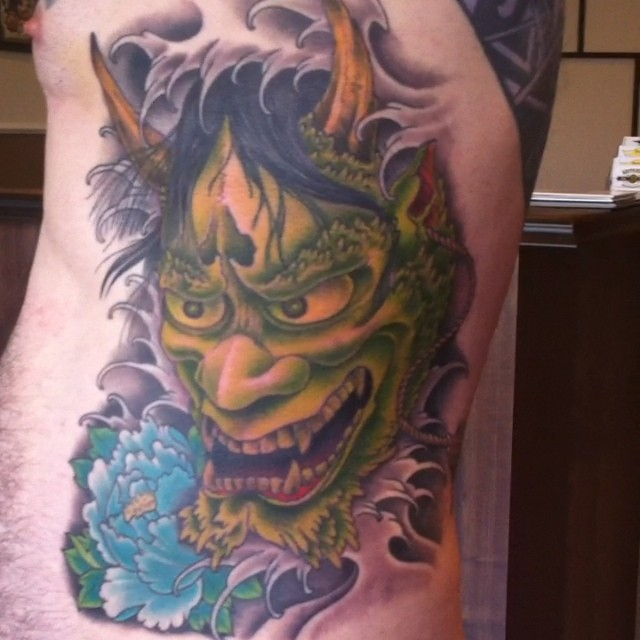 This guy sat like a rock on this Hannya rib piece! Inspired by a Jeff Gogue piec...