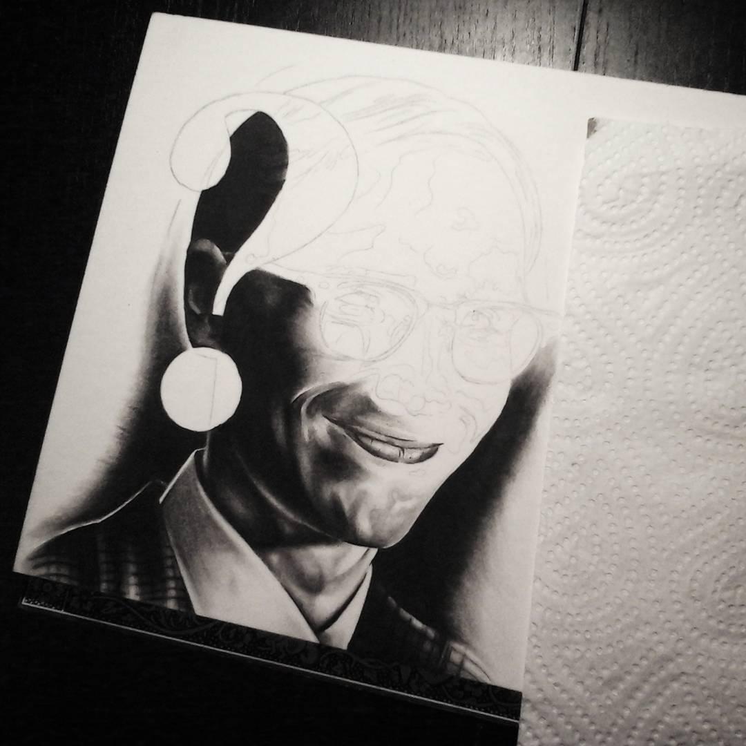 "Trying again some realistic ""portrait""-stuff......edward nygma from gotham. 3h o"