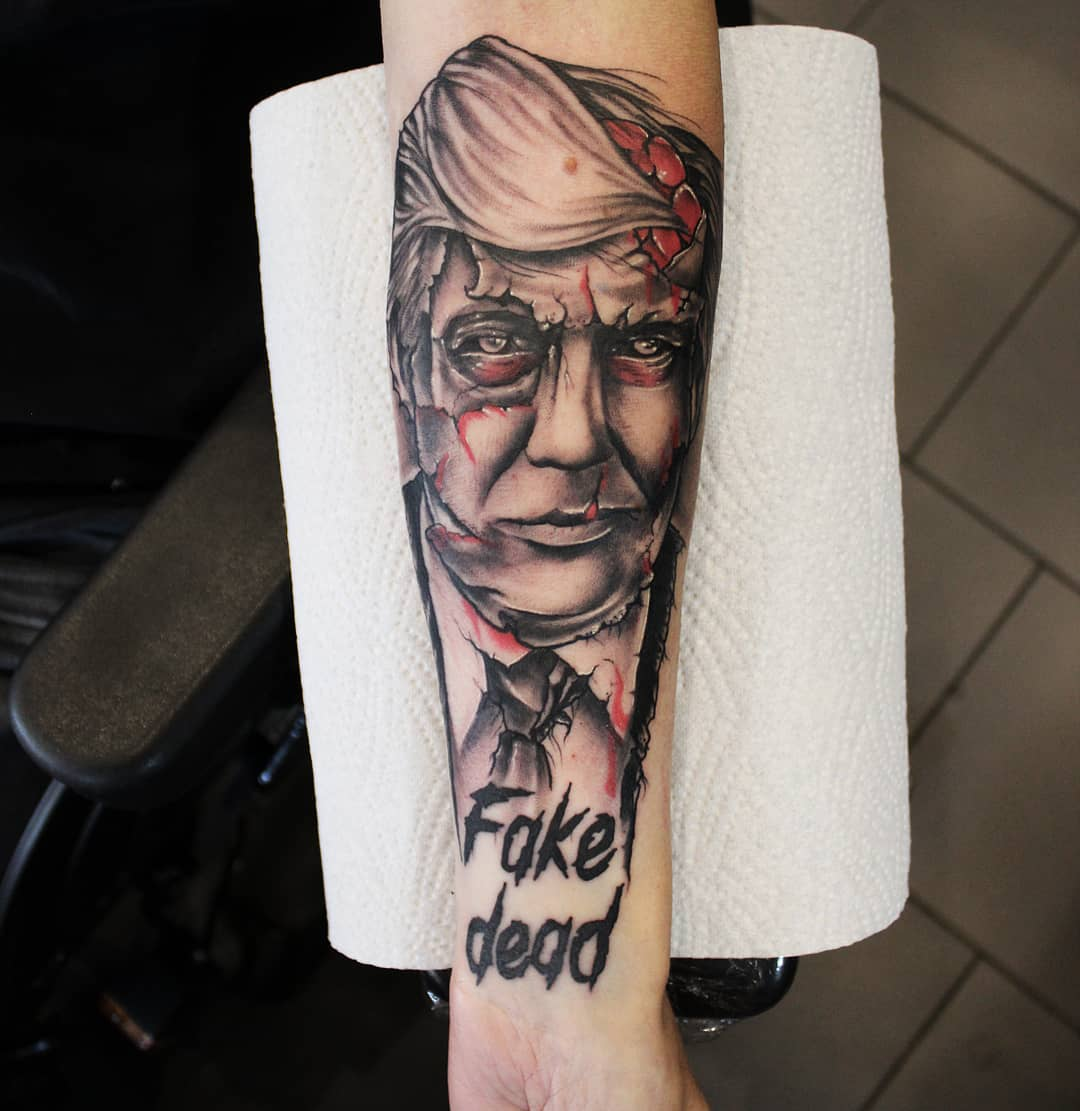 Undead president, thx so much Benni! #germantattooers #germanartist #tattooworke...