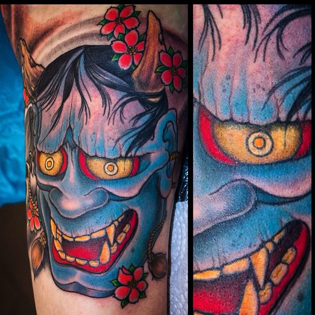Upper inner arm, all lines and blacks healed, colours fresh and bruised #tattoo#...