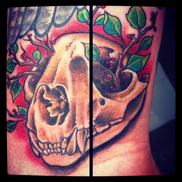 Very small filler on a wrist #tattoo #tattooing #wrist#wristtattoo#cougar#skull#...