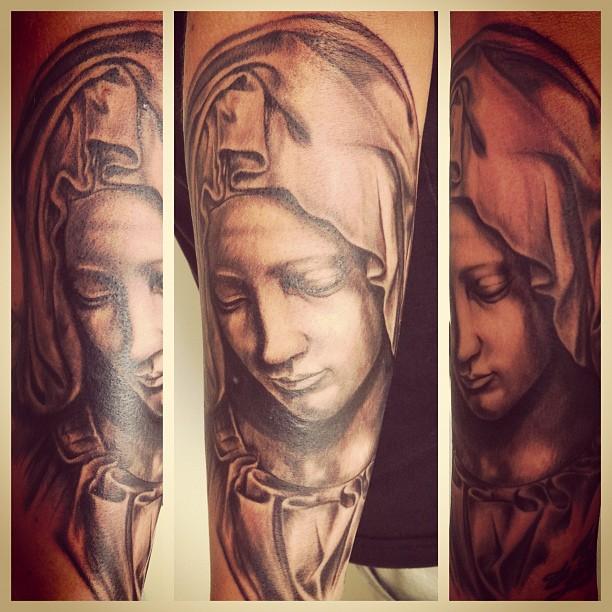 Work of today #tattoo#tattooing#tattooart#artwork#pieta#pietà#michelangelo#mary#...