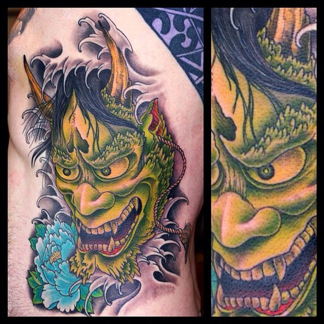 better picture of the Hannya O did this week #tattoo #tattooing #hannya#hannyama...