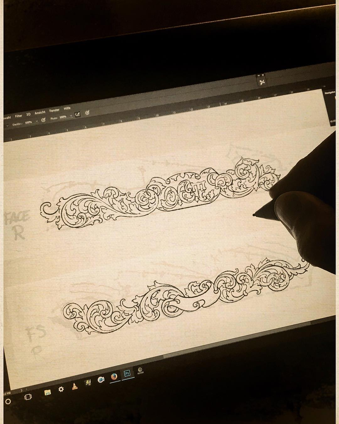 drawing clean lines of the upcoming engraving for my friend werner @businger_old