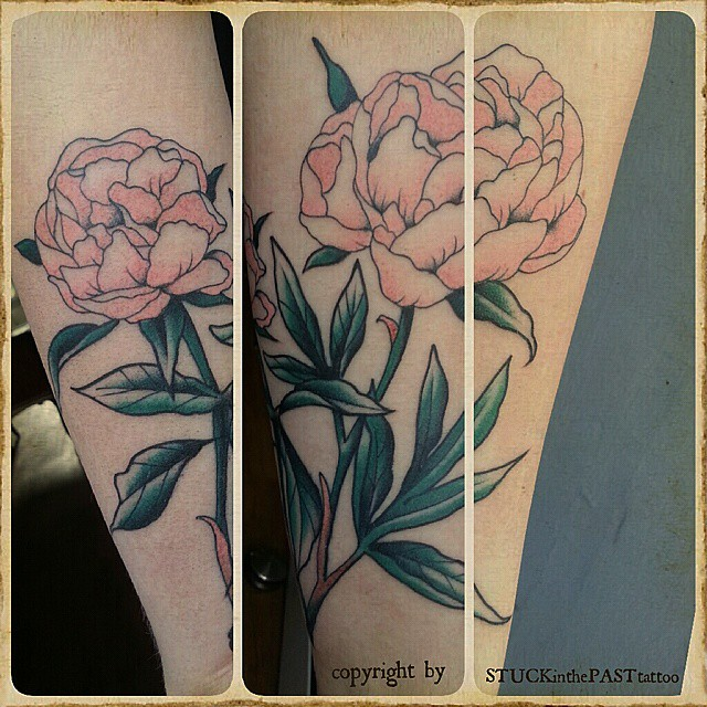 fine line peonies,  #stuckinthepasttattoo #dortmundfinest #bright_and_bold #topc